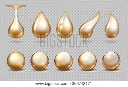 Oil Drops. Realistic Golden Fluid Drips, Yellow Petrol Lubricant Or Nature Element, Liquid Honey Dro