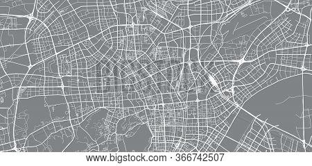 Urban Vector City Map Of Hangzhou, China