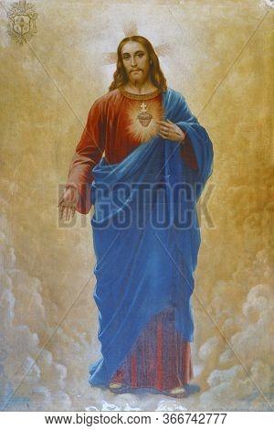 KLENOVNIK, CROATIA - OCTOBER 09, 2012: Sacred Heart of Jesus, altarpiece in the Holy Trinity Parish Church in Klenovnik, Croatia