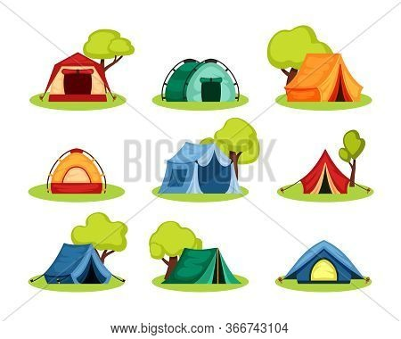 Camping Tent Set. Tourist Tent Under The Shelter Of Tree, Reinforced With Rope With Peg, The Shape O