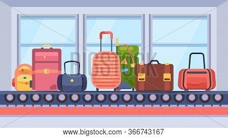 Baggage On Conveyor Belt. Suitcase Travel Bags Brown Pink Green On Transport Tape In Terminal, Bagga