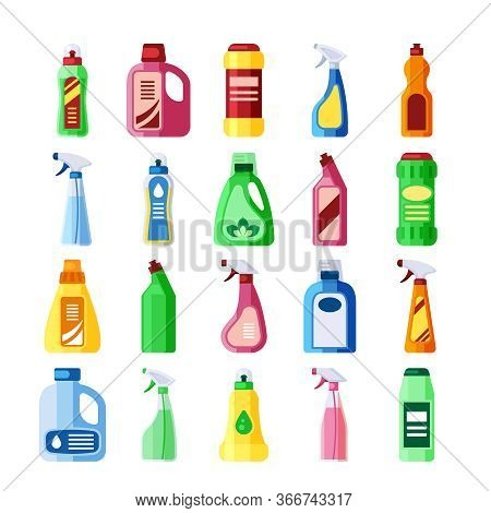 Plastic Bottles With Detergent Set. Bottles Of Various Shapes With Soapy Chemical Liquid For Cleanin