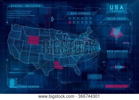 Hud Map Of The Usa. Set Of Hud Callout Design Elements. Cyberattack, System Under Threat, Ddos Attac