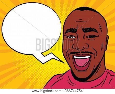 Color Vector Illustration In Comic Pop Art Style. Joyful Male Face With A Speech Bubble In The Backg