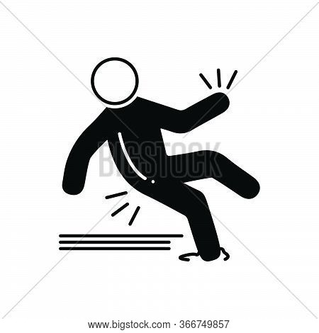 Black Solid Icon For Slip-accident Slip Accident Careless Injury