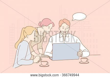 Meeting, Coworking, Teamwork, Analysis Business Concept. Team Or Group Of People Businessmen Women C