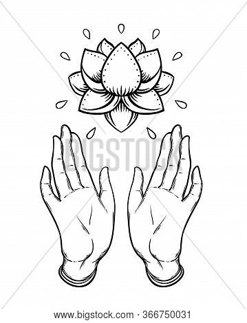 Lord Buddhas Open Hands Holding Lotus Flower. Isolated Vector Illustration Of Mudra. Hindu Motifs. T