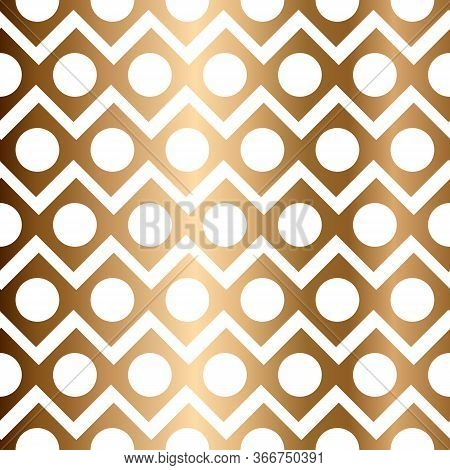 Abstract Golden Vector Geometric Seamless Pattern With Circles