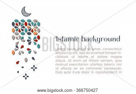 Islamic Vertical Decor With Moon And Arabesque. Geometric Vector Background Pattern With Tile, Mosai