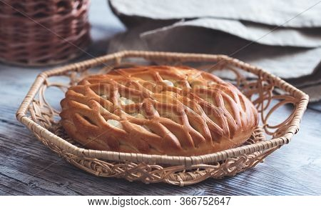 Fresh Homemade Open Pie With Cottage Cheese And Raisins. Traditional Russian Yeast Pastries, Cheesec