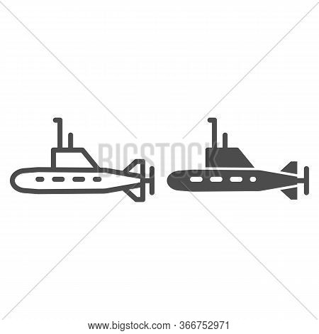 Submarine Line And Solid Icon, Warship Transport Symbol, Underwater Boat Vector Sign On White Backgr