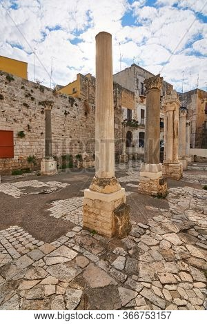 Remains Of A Roman Temple In Downtown Bari Italy