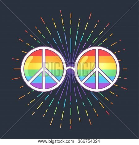 Hippie Sunglasses With Rainbow Lenses And Peace Sign. Gay Pride. Lgbt Concept, Vector Colorful Illus