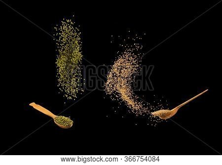 Zero Gravity Food Concept. Mung Beans And Mustard Seeds Splashing Isolated On Black Background. Heal