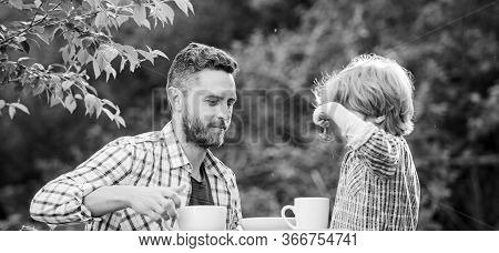 Natural Nutrition Concept. Feeding Son Natural Foods. Stage Of Development. Healthy Food. Dad And Bo