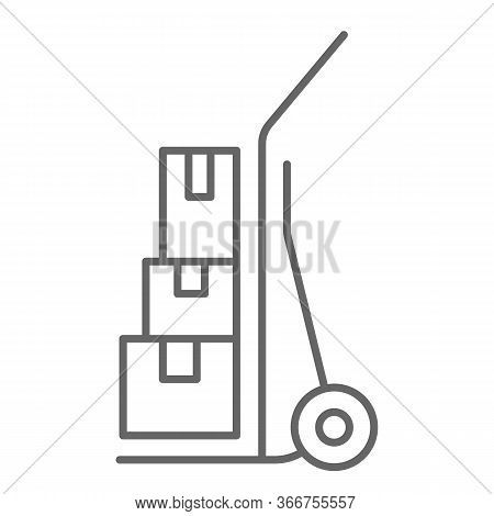 Cargo Trolley Thin Line Icon, Delivery Symbol, Hand Truck Vector Sign On White Background, Delivery