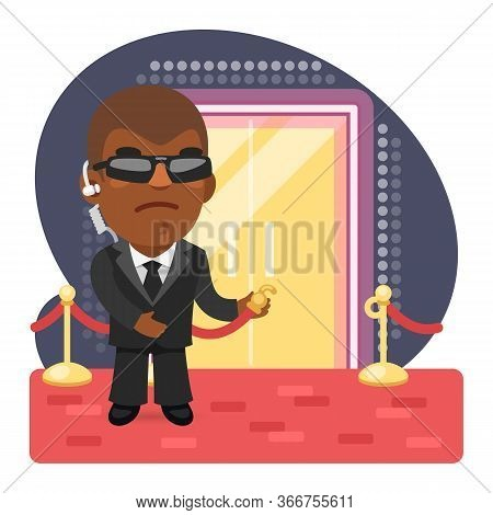 Cartoon Illustration Of Bouncer Invites To Enter The Nightclub On The Red Carpet. Composition With A