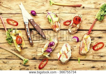 Italian Bruschetta With Vegetables.