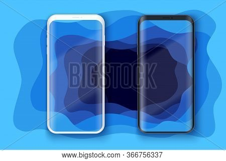 Smartphone Layout Presentation Mockup On Art Background With Depth Effect. Example Frameless Model M