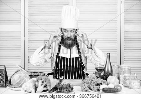 Master Chef Concept. Culinary Is Exciting. Chef Handsome Hipster. Get Ready. Man Bearded Chef Gettin
