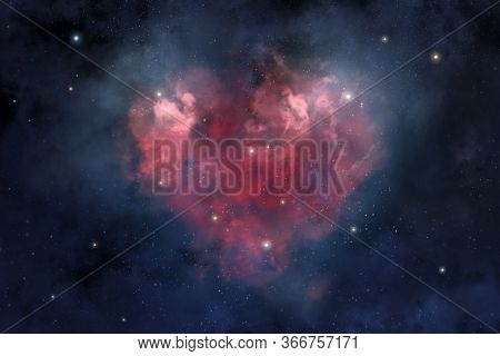 An Illustration Of The Heart-shaped Cosmic Nebula