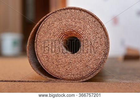 Roll Of Suberic Wood. Renovation, Renewal. Cork Floor