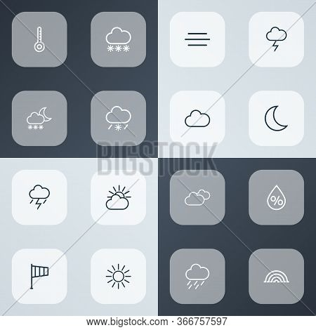 Climate Icons Line Style Set With Rainstorm, Overcast, Arc And Other Cloud Sky Elements. Isolated Ve