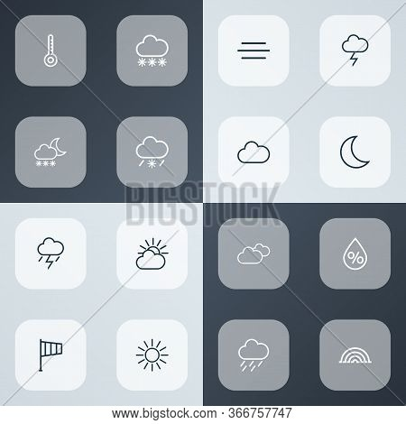 Climate Icons Line Style Set With Rainstorm, Overcast, Arc And Other Cloud Sky Elements. Isolated Il