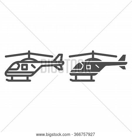 Helicopter Line And Solid Icon, Air Transport Symbol, Copter Vector Sign On White Background, Small