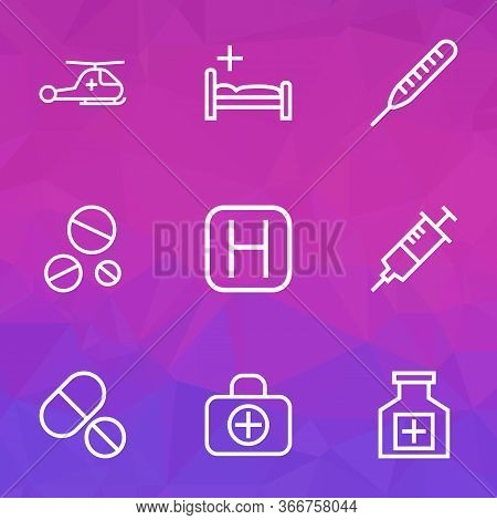Antibiotic Icons Line Style Set With Medicines, Polyclinic, Drugs And Other Thermometer Elements. Is