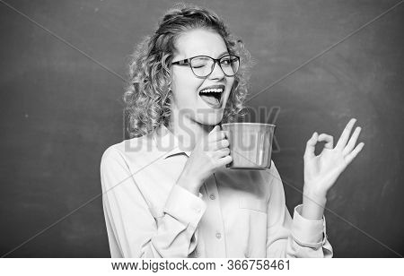 Perfect Taste. Idea And Inspiration. Good Morning. Girl Refreshing With Tea Drink. Woman With Coffee