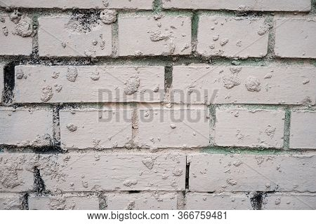 Background Image Of A White Painted Brick Wall. Old Smooth Brickwork. Desktop Wallpaper. Substrate F