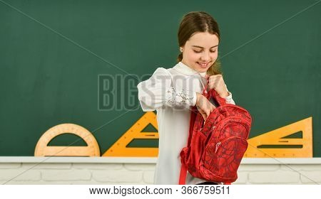 Clever Teenager Student. Educative Activity. Child Study In School. My Backpack Is Just Right. Smart