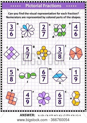 Educational Math Puzzle: Match Each Fraction To Its Proper Visual, Or Pictorial, Representation.  An