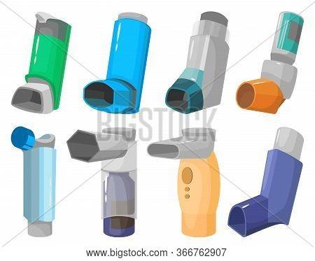 Inhaler Vector Cartoon Set Icon. Vector Illustration Inhalator Of Spray On White Background. Isolate