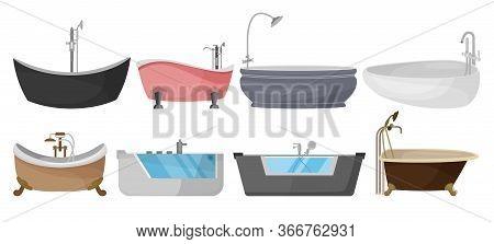 Bath Vector Cartoon Set Icon. Isolated Cartoon Set Icon Bathtub.vector Illustration Bath On White Ba