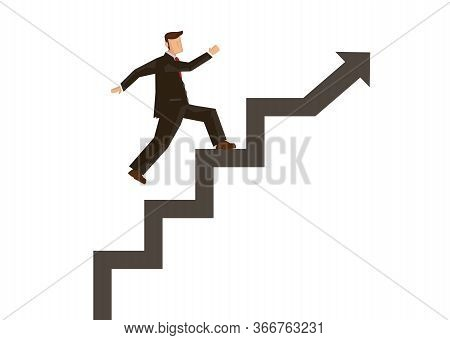 Businessman Stepping Up On Stairway Build On A Rising Arrow. Growth Business Finance Investment Succ