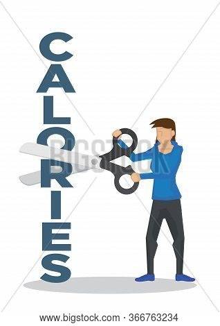 Girl Using A Giant Scissor To Cut A Calories Block. Concept Of Weight Loss, Trimming, Healthy Lifest