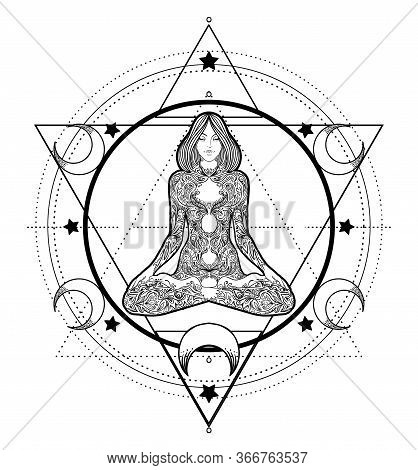 Woman Ornate Silhouette Sitting In Lotus Pose And Sacred Geometry. Ayurveda Symbol Of Harmony And Ba