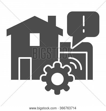 House Garage With Mechanic Gear Solid Icon, Smart Home Symbol, Automated Door With Remote Control Ve