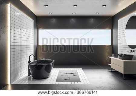 Modern Bathroom Interior With Black Bath, Decorative Objects And Blue Sky In Window. Style And Hygie