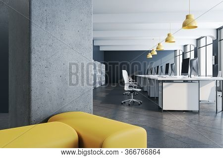 Modern Coworking Office Interior With Computers And Shelves With Documents. Occupation And Working C