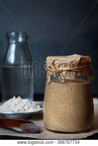 Rye Leaven For Bread Is Active. Starter Sourdough. Ingredients For Leaven