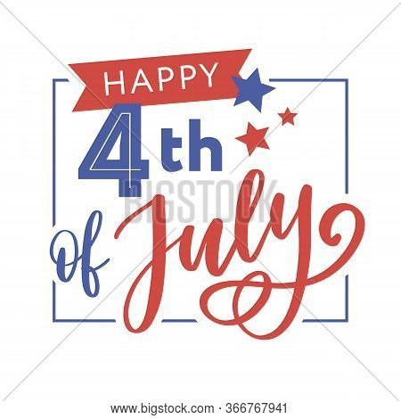 Illustration Of 4th Of July Background With American Flag