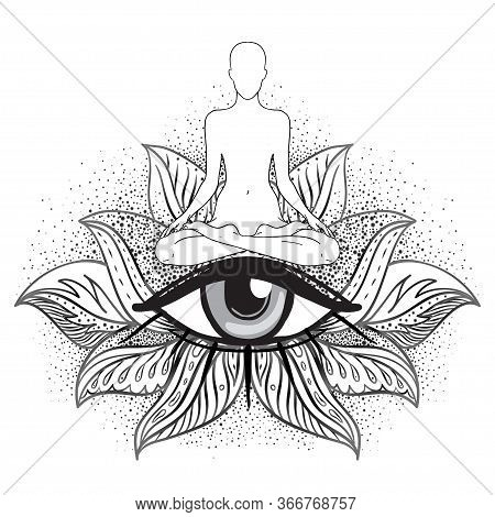 Chakra Concept. Inner Love, Light And Peace. Buddha Silhouette In Lotus Position Over Ornate Mandala