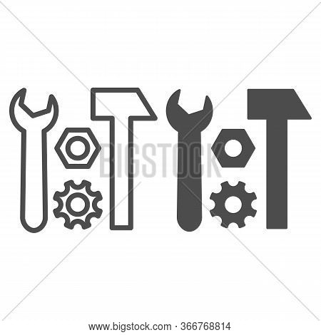 Tools For Repair Line And Solid Icon, Transport Symbol, Hammer And Wrench Vector Sign On White Backg