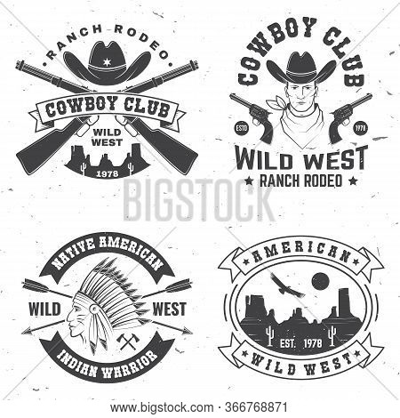 Set Of Cowboy Club Badge. Ranch Rodeo. Vector Illustration. Concept For Shirt, Logo, Print, Stamp, T