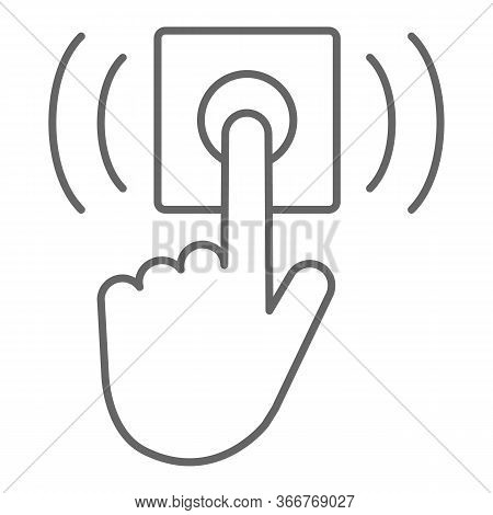 Ring Door Bell Thin Line Icon, Delivery Symbol, Hand Push Bell Button Vector Sign On White Backgroun