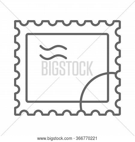 Postal Stamp Thin Line Icon, Delivery Symbol, Paper Retro Post Stamp Vector Sign On White Background
