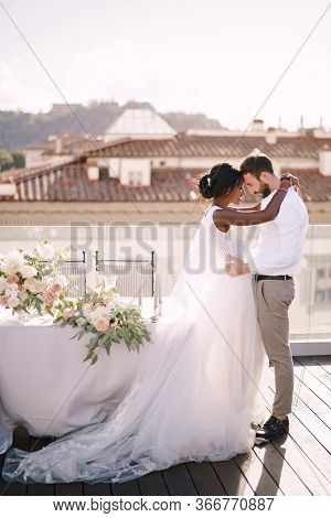 Interracial Wedding Couple. Destination Fine-art Wedding In Florence, Italy. African-american Bride